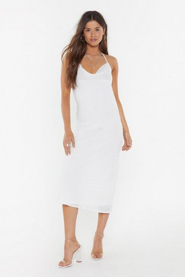 Womens Ivory Dance to This Cowl Midi Dress