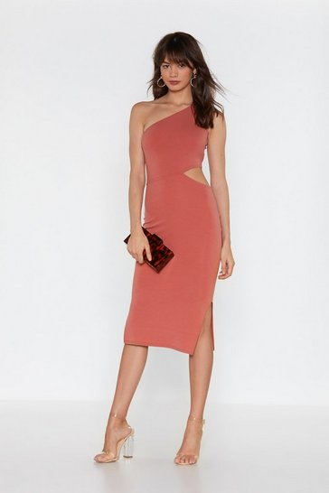 Womens Antique rose Back in the Game Cut-Out Bodycon Midi Dress