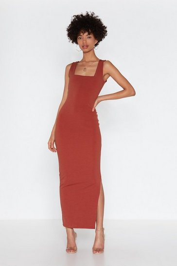 Cinnamon A Square Find Midi Slit Dress