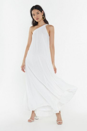 Womens White Pleated One Shoulder Maxi Dress