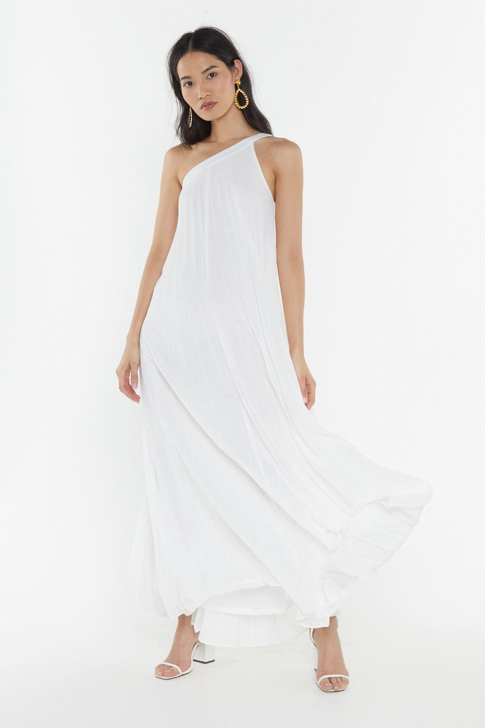 Pleated One Shoulder Maxi Dress