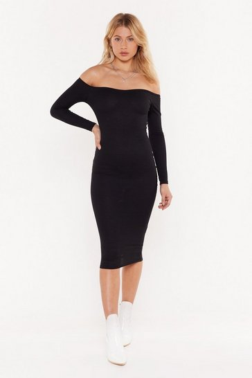 Womens Black I'm Taking Off-the-Shoulder Ribbed Mini Dress