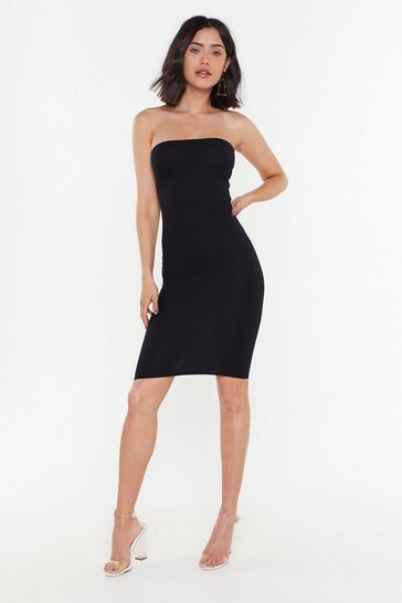 Womens Black Let's Head Out Ribbed Bandeau Dress