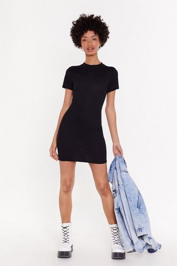 Womens Black Got the Fit Factor Ribbed Mini Dress