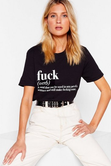 Womens Black The Definition of Fuck Graphic Tee