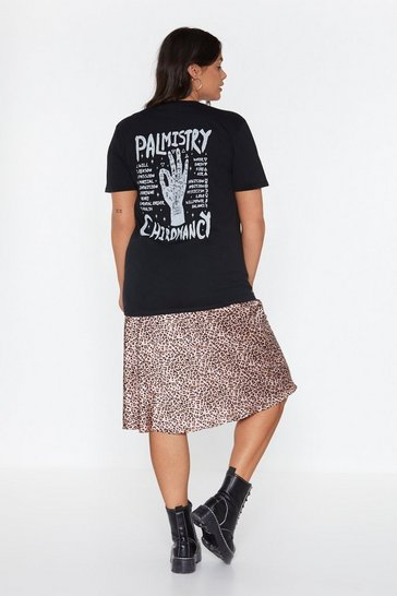 Womens Black Lemme Read Your Palm Graphic Tee
