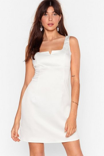 White Do Notch Disturb Satin Mini Dress
