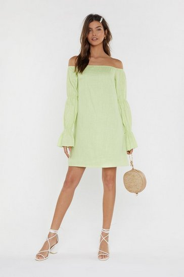 Womens Lime Linen Bardot Seam Sleeve Detail Mini Dress