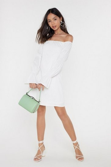 Womens White Sleeve It at That Off-the-Shoulder Mini Dress