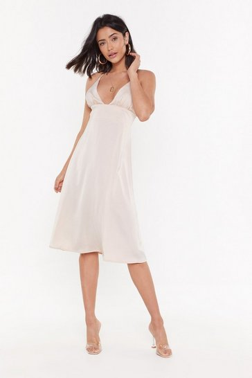 Womens Nude If I Could Turn Back Time Satin Midi Dress