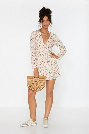 Womens Cream V-neck and Call Floral Mini Dress