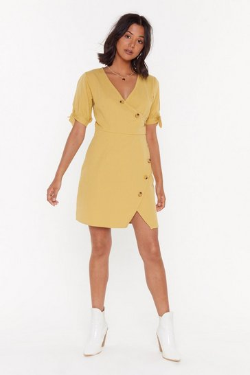 Womens Lime Take Button Me Linen Mini Dress