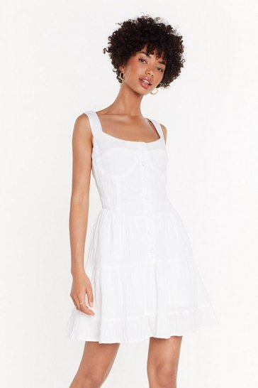 White Cup Detail Frill Hem Mini Dress