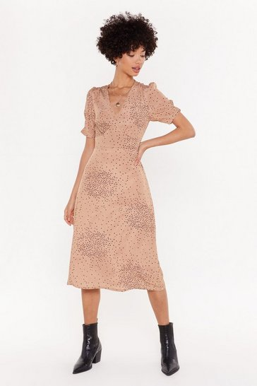 Womens Tan Almost For-dot Open Back Midi Dress
