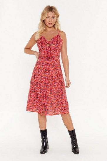 Womens Red Branch Out Floral Tie Dress