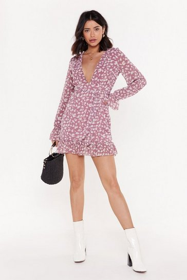 Womens Rose Grow Easy On 'Em Floral Plunging Dress