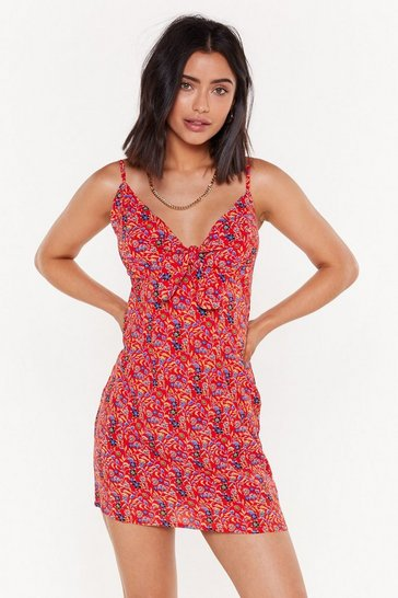Womens Red Give It Your Floral Tie Mini Dress