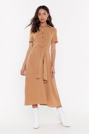 Womens Tan Hit the Calm Button-Down Tie Midi Dress
