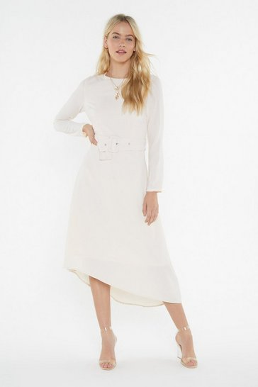 Womens Ivory I Wanna Belt With You Belted Midi Dress