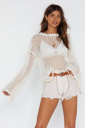 Cream Open Off My Love Open Knit Sweater