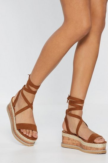 Womens Tan Moving on Up Faux Suede Cork Sandals