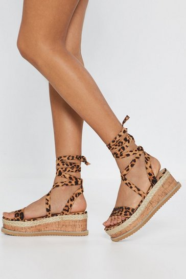 Womens Brown Bold Move Leopard Cork Sandals