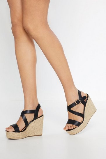 Womens Black As Strappy As Can Be Woven Wedges