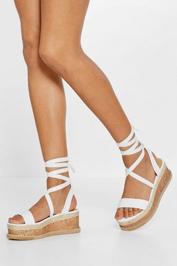 Womens White Tied and Tested Wrap Cork Sandals