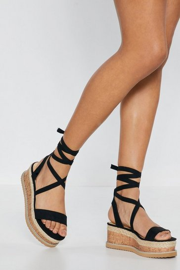 Black Draw to a Close Wrap Cork Sandals