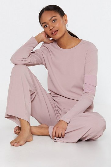 Womens Dusky pink Be Right With Utility Lounge Top and Jogger Set