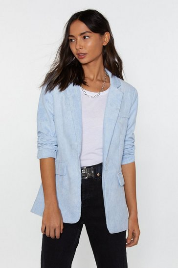 Womens Baby blue Cord Tailored Blazer