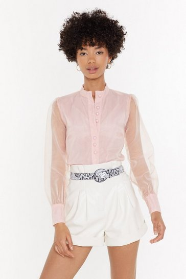 Womens Blush Business in the Front Sheer Blouse