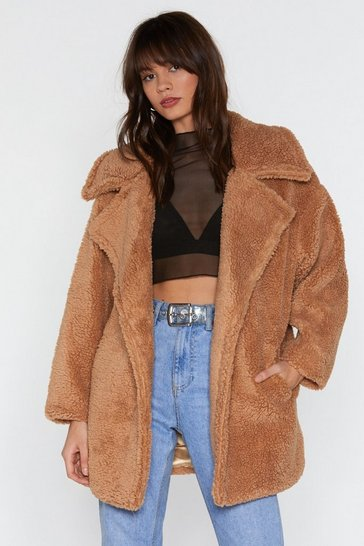 Womens Camel As You Faux Fur Oversized Coat