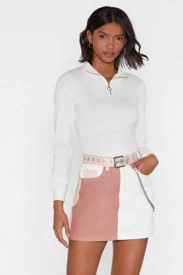 Womens Pink Patch You Later Mini Skirt