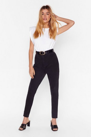 Black Wash Denim High-Waisted Skinny Jeans