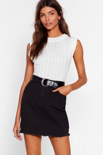 Womens Black Be With You in a Mini Denim Skirt