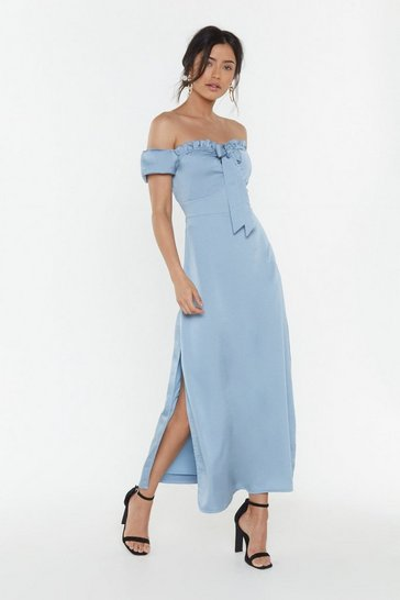 Womens Blue Don't Catch the Bouquet Off-the-Shoulder Midi Dress