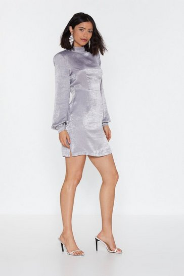 Womens Grey Back to My Pad Satin Mini Dress