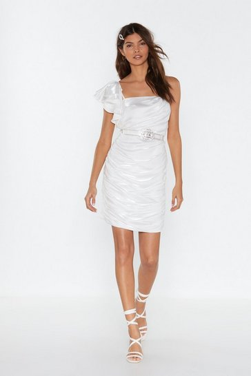 Womens Ivory Ruffle Ruched Shiny Mini Dress