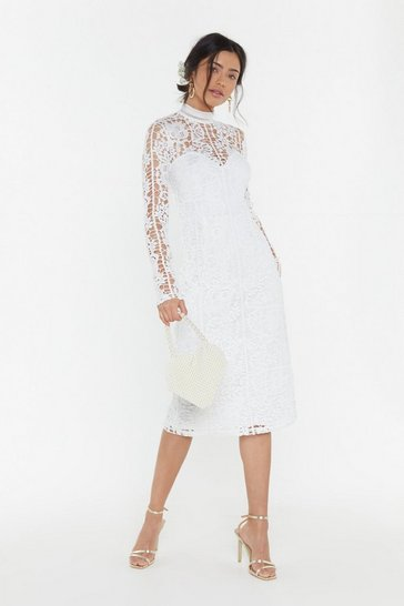 Womens White RSVP Crochet Midi Dress