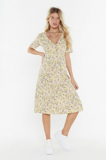 Womens Yellow Floral Short Sleeve Midi Dress