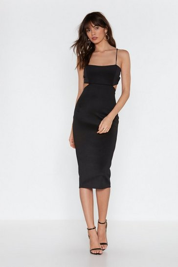 Black Back in the Game Cut-Out Bodycon Midi Dress