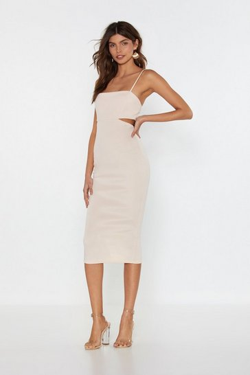 Womens Peach Back in the Game Cut-Out Midi Dress