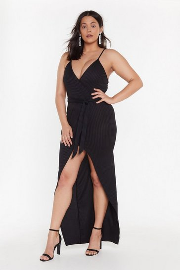 Womens Black Wrap-py About It Ribbed Maxi Dress