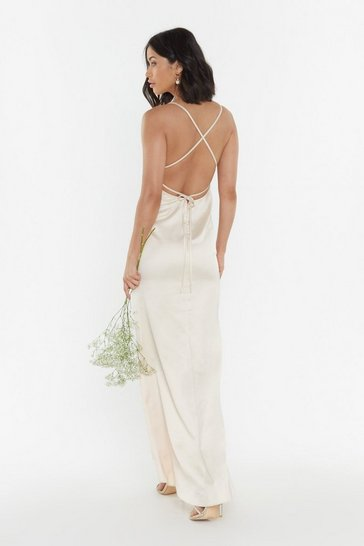 Womens Oyster Always the Bridesmaid Satin Strappy Dress