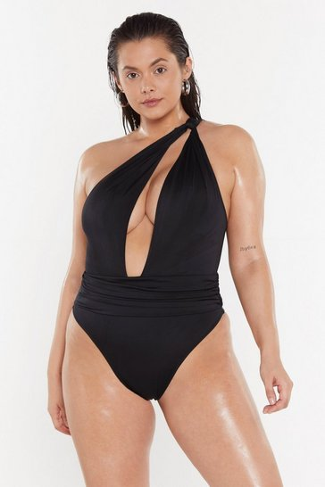 Womens Black Cut It Out One Shoulder High-Leg Swimsuit