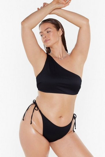 Womens Black Keep 'Em on Side High-Leg Bikini Bottoms