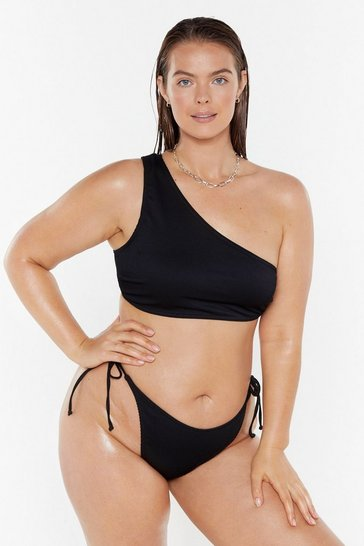 Womens Black Keep 'Em on Side One Shoulder Bikini Top