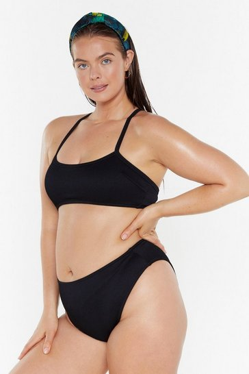 Womens Black Rib-e the Waves  High-Leg Bilkini Bottoms