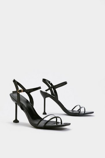 Womens Black Clear Strap Heeled Sandals
